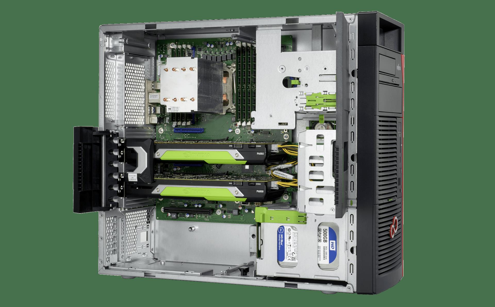 Fujitsu CELSIUS graphics grafične postaje z Nvidia QUADRO, GV100, RTX in AMD Radeon Pro WX SLI grafičnimi za 3D CAD CAE AutoCad